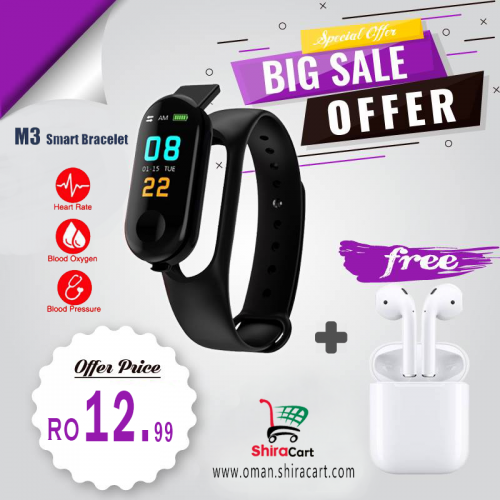 M3 Smart Fitness Band And i7s Wireless earbuds
