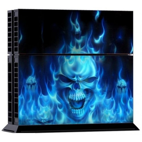 Dualshock Controller Protective Skin for Ps4 System plus 2pcs Decals for PS4 -Skull of Blue Fire