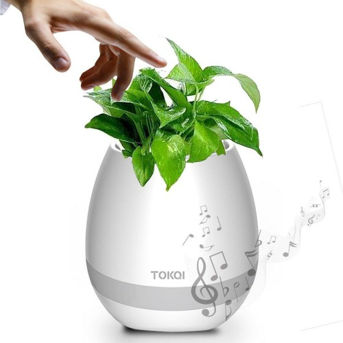 Wireless Rechargeable waterproof bluetooth Smart Touch Plant Piano Music Playing Night Light Flowerpot Speaker