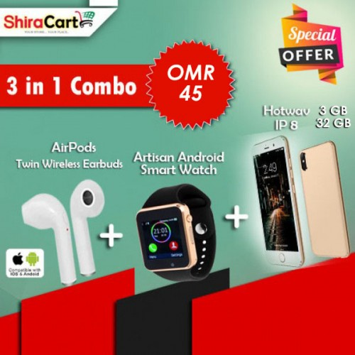 3 IN 1 Combo - Hotwav IP8 Dual SIM 32GB, 3GB RAM [GOLD] + Twin Wireless Earbuds + Artison Android Smart watch
