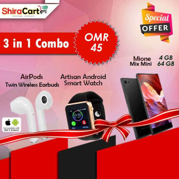 3 IN 1 Combo - Mione Mix Mini, 4 GB Ram, 64 GB Storage + Twin Wireless Earbuds + Artison Android Smart watch