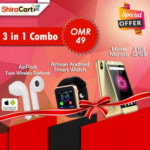 3 IN 1 Combo - Mione N10 Pro, 3GB Ram, 32GB, 4G LTE + Twin Wireless Earbuds + Artison Android Smart watch