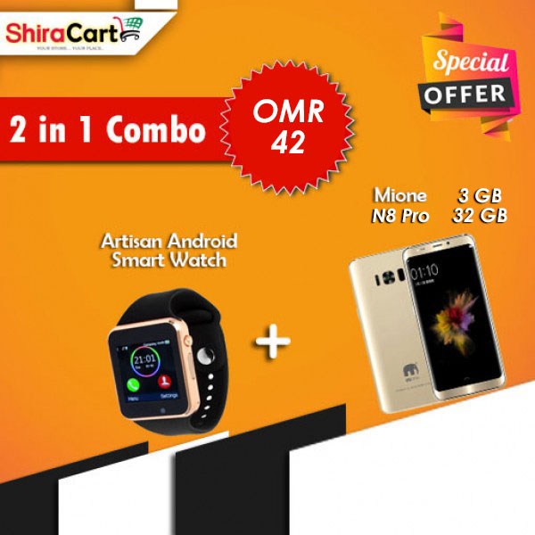 2 IN 1 Combo - Mione N8 Pro 3GB RAM 32GB, 4G [Gold] + Artison Android Smart watch