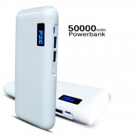Portable Power Bank 50000mAh Dual USB LCD Display Universal Charger [White]